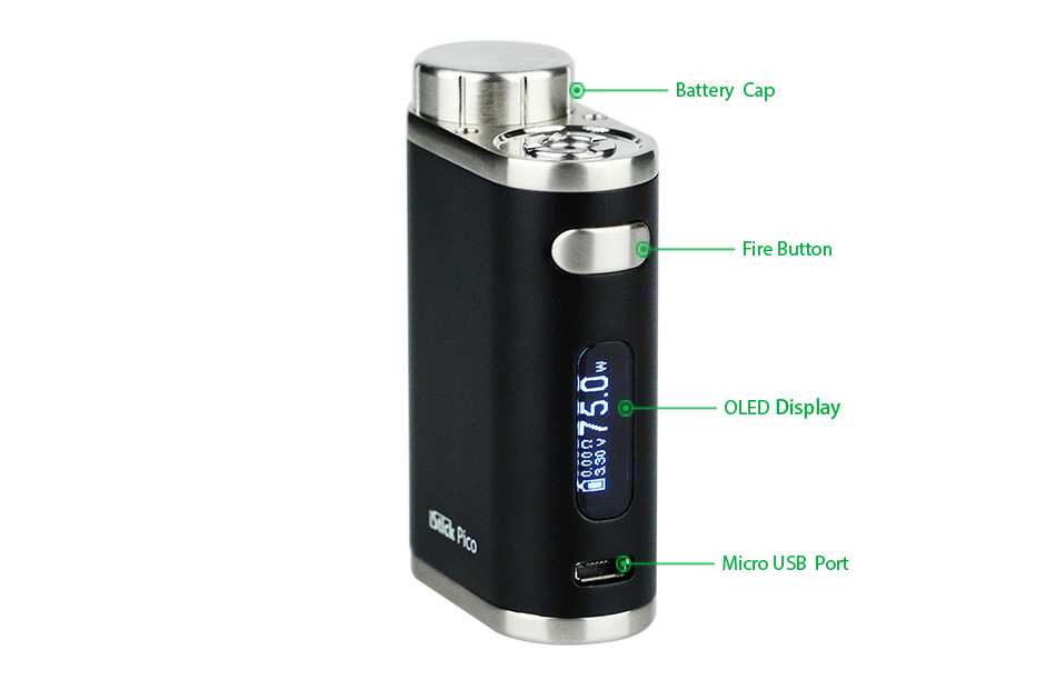 Best Mini Vape Mod Eleaf iStick Pico 75W TC Full Kit Specs