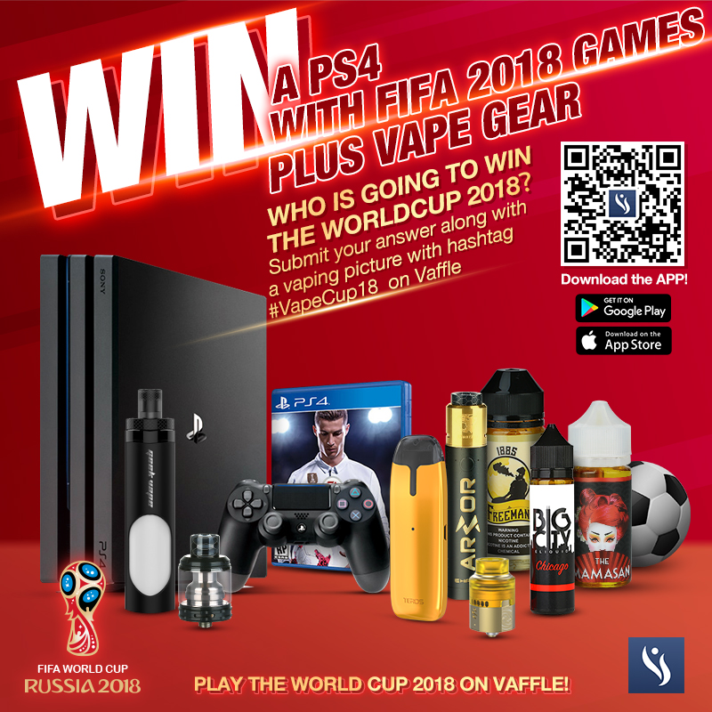 Win a PS4 and many vape prizes on Vaffle!